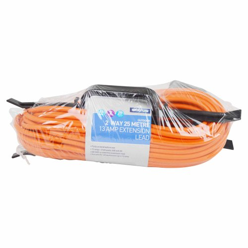 25 Metre 13 Amp Orange Outdoor Extension Cable on 'H' Frame with 2 Gang Rubberised Socket Test