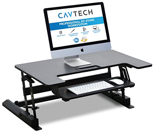 Sit-Stand Workstation by CavTech Ergonomics | Turn any Desk into an Adjustable Standing Desk | Professional Quality Office Equipment | 3-Year Manufacturers Warranty | Model: CT-01