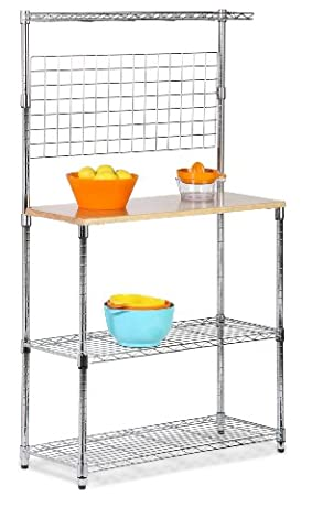 Honey-Can-Do SHF-01608 Bakers Rack with Cutting Board and Storage Shelves,