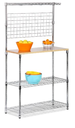 honey-can-do-shf-01608-bakers-rack-with-cutting-board-and-storage-shelves-chrome