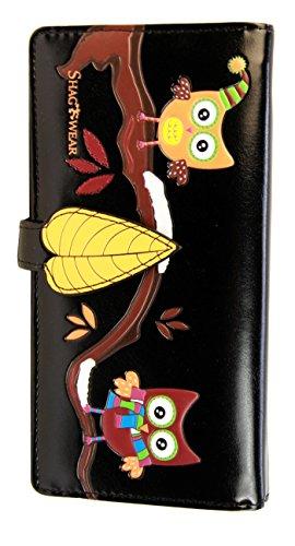 Shagwear Junge-Damen Geldbörse , Large Purse: Verschiedene Farben und Designs: (Herbst Eulen Schwarz/ Autumn Owls)
