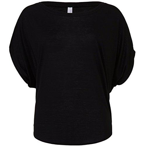 Flowy drapierte Ärmel dolman T-Shirt Schwarz