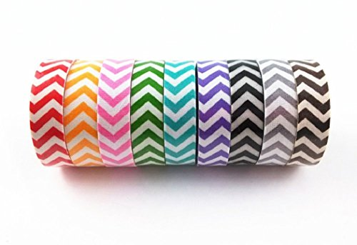 zhichengbosi 9 pcs Mini Colorful Wavy Stripe DIY decorativo tessuto Nastro Adesivo