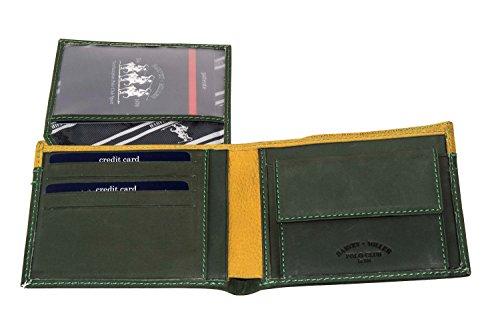 Portafoglio uomo HARVEY MILLER POLO CLUB verde pelle + patta e portamonete A3695