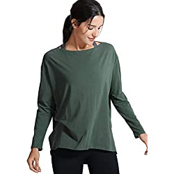 CRZ YOGA Mujer Loose Fit Top Ropa Deportiva Manga Larga con Cuello Barco Verde Oliva