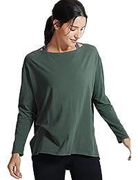 CRZ YOGA Mujer Loose Fit Top Ropa Deportiva Camiseta De Manga Larga con  Cuello Barco 3340980e8f13c