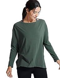 CRZ YOGA Damen Sport Shirt Langärmliges T-Shirt Relaxed Fit Fitness Laufshirt Olivgrün 34