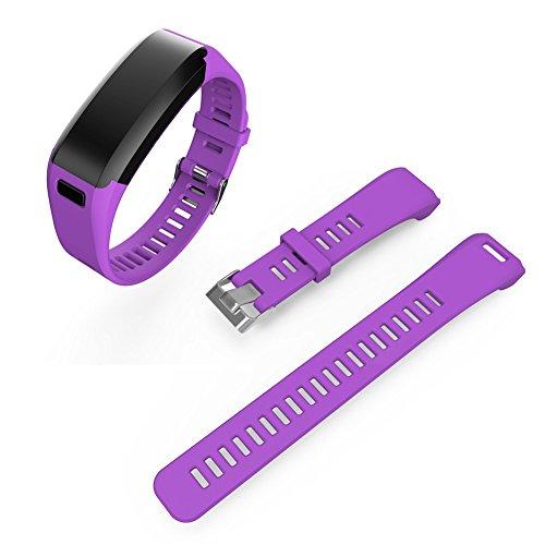 Bande de montre de rechange pour Garmin vivosmart HR Bracelet Bracelet de montre en silicone pour Garmin vivosmart HR, violet
