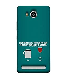 PrintVisa Designer Back Case Cover for Lenovo A7700 (Red Coffee Wine Life AM PM)