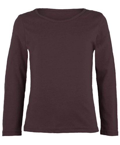 New Girls Plain Long Sleeve Kids Top Children Crew Neck T-Shirt School Summer T-Shirt Age 2-13 Year (9-10 Years, Brown)