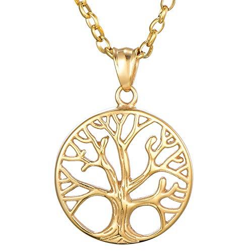 Morella Damen Halskette 70 cm mit Anhänger Lebensbaum Hoffnung Gold im Schmuckbeutel