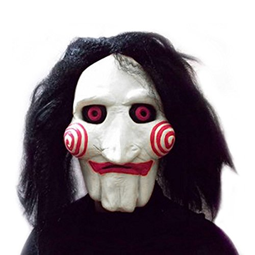 Macxy - Film Saw Chainsaw Massaker Jigsaw Puppet Masken Latex Gruselige Vollmaske Scary Prop Unisex Partei Cosplay ()