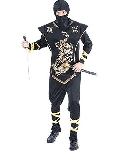 nja Kostüm, Gold, Groß (Erwachsene Weibliche Ninja Kostüme)