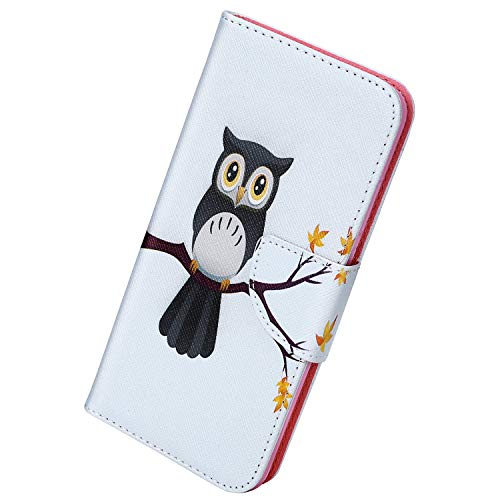 Herbests Kompatibel mit Samsung Galaxy Note 10 Lederhülle Handyhülle Bunt Muster Ledertasche Bookstyle Klapphülle Wallet Flip Case Cover Schutzhülle Magnetverschluss,Schwarz Eule