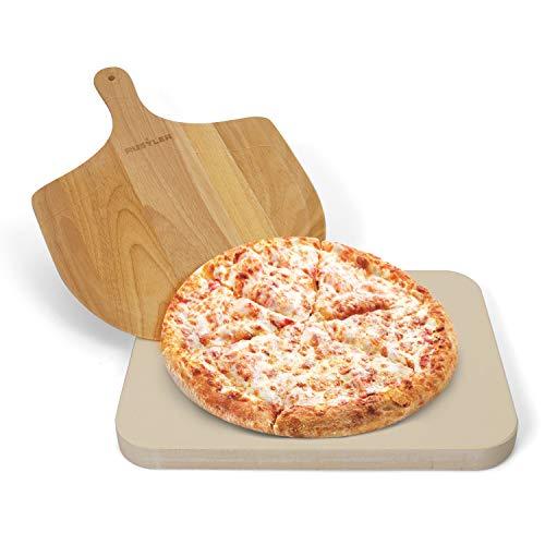 Rustler Pizzastein-/ Brotbackstein 38 x 30 cm + Pizzaschieber aus Holz | für Pizza, Flammkuchen, frischem Brot, Brötchen, Quiches und Kuchen | für Backöfen, Holzkohle- und Gasgrills geeignet