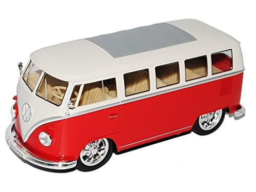 alles-meine.de GmbH VW Volkswagen T1 Rot Weiss mit Tuning Felgen Samba Bully Bus 1950-1967 1/24 Welly Modell Auto mit individiuellem Wunschkennzeichen