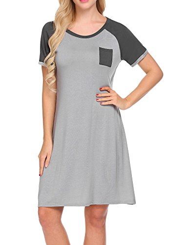 Pyjama Sleepshirt (Unibelle Nachthemd Schlafhemd Kurzarm Damen Pyjama Sleepshirt Schlafshirt Baumwolle Grau M)