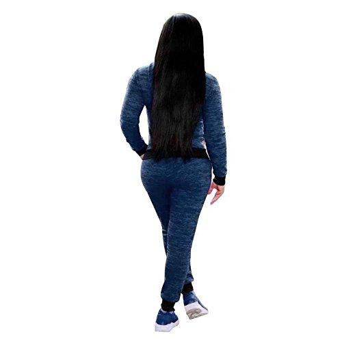 Womens Casual 2 pièces Hauts Outwear et pantalons Outfit Bleu