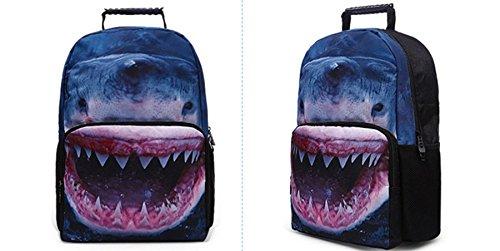 Ohmais 3D Tier Rücksack Rucksäcke Backpack Daypack Schulranzen Schulrucksack Wanderrucksack Schultasche Rucksack für Schülerin Hai