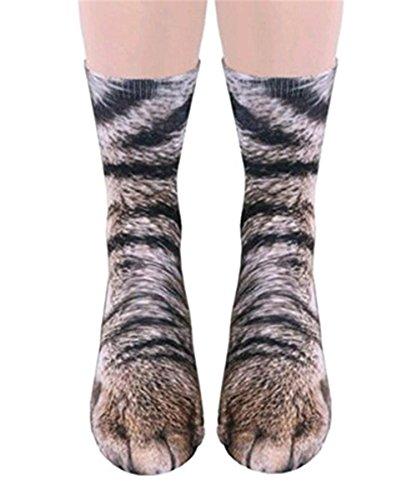 ODN 3D Tier Pfote Crew Gedruckt Socken Erwachsene Herren Damen Polyester Socken Lustige Socken für Geburtstags Karneval Weihnachten Halloween Party (Katze) (Halloween-socken)