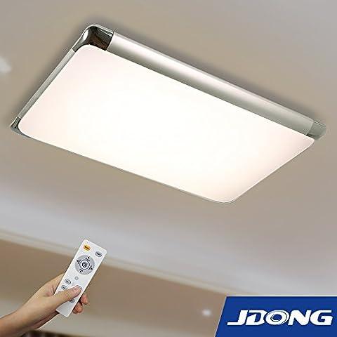JDONG moderna Lampada LED plafoniera a soffitto 90W ad alta trasmissione luminosa temperatura di colore controllabile con telecomando (argento) [Classe energetica A