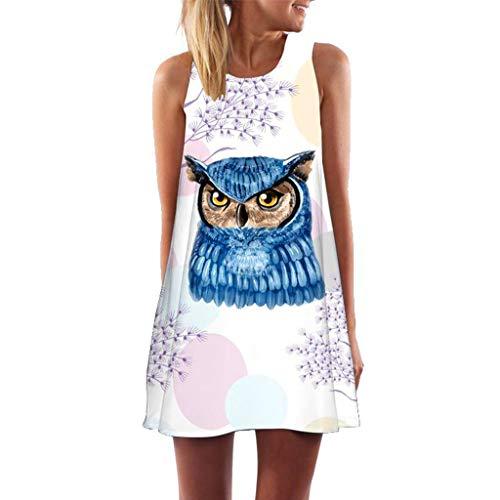 MAYOGO Sommerkleider Damen Casual Ärmellos T-Shirt Kleid Kurzen Blumen Bedrucktes Strandkleider mit Taschen (Orange Blumen-mädchen-kleider Rosa Und)