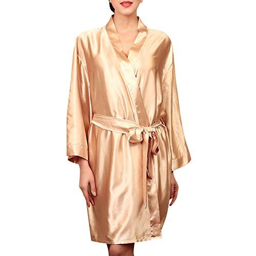 Donna Pigiama Kimono Night Dress Corta Elegante Vestaglia Champagne
