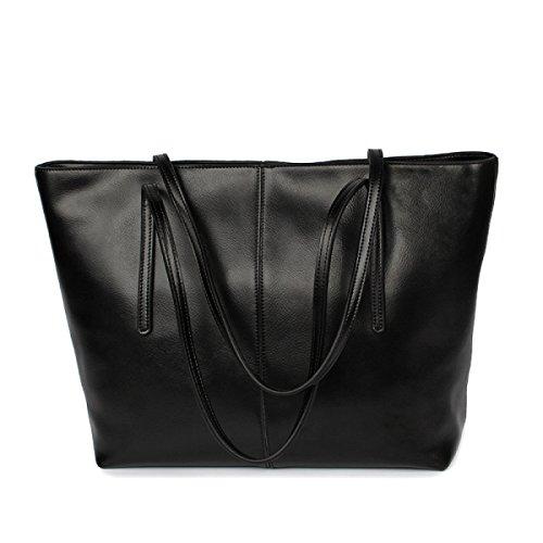 PDFGO Leder Damen Tasche Zwei Farbe Öl Wachs Rindsleder Schulter Handtasche Mode Tide Big Bag Tote Bag Black