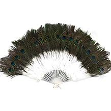 Showgirl - Abanico de mano plegable de plumas grandes y elegante, estilo vintage, estilo