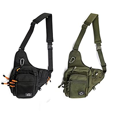 HETTO Fishing Sling Bags Fly Fishing Waist Bag Mens Fishing Lure Bag Waterproof 1000D Nylon Small Chest Pack Shoulder Bag for Outdoor Fishing Tackle Bag by Weihai Letu CO.,LTD
