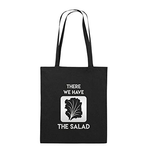Comedy Bags - THERE WE HAVE THE SALAD - Jutebeutel - lange Henkel - 38x42cm - Farbe: Schwarz / Silber Schwarz / Silber