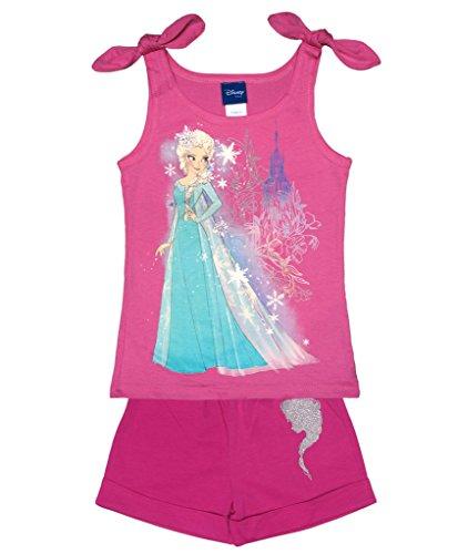 Luna Kostüm Sets - Mädchen Eiskönigin Set T-Shirt ÄRMELLOS mit Short in GRÖSSE 104, 110, 116, 122, 128, 134, 140, ideales Strand-Outfit, T-Shirt mit kurzer Hose Size 104, Farbe Rosa