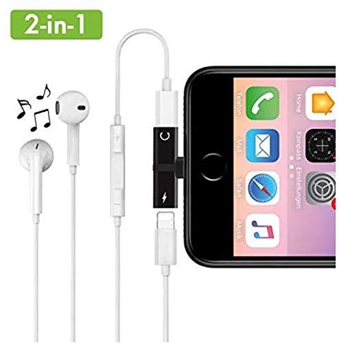 Daisyly 2-in-1 Dual Splitter Stecker | Musik hören und gleichzeitig Laden | kompatibel mit iPhone 7/8, 7/8 Plus, X/10, XS, XS Max, XR (schwarz)