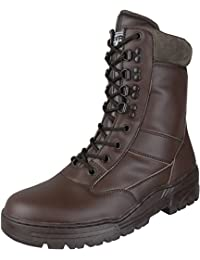 Savage Island Combat Boots Brown Full Leather Side Zip