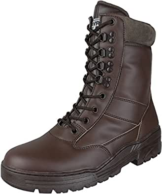 Brown Full Leather Side Zip Army Patrol Combat Boots Tactical Cadet Military (3 UK)