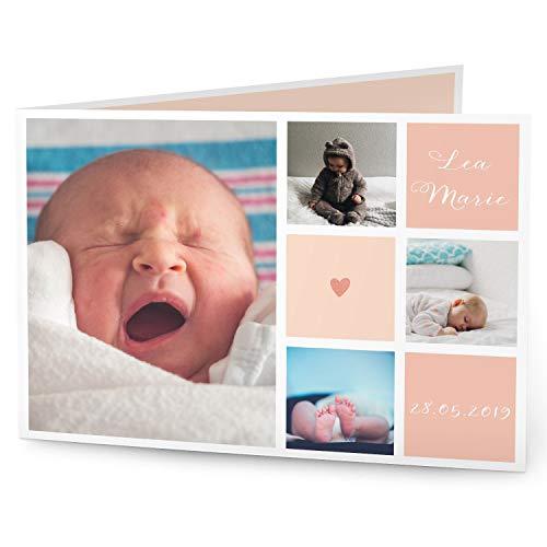 greetinks 10 x Geburtskarten \'Mitten ins Herz\' in Rosa   Personalisierte Karten zur Geburt zum selbst gestalten   10 Stück Babykarten Dankeskarten