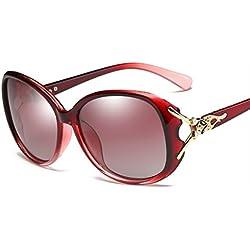 Chickwin Frauen-Art- und Weise Retro- kühler Schatten Wayfarer UV400 Schutz polarisierte Sonnenbrille (Rotwein)