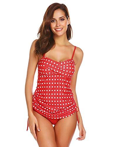 nzug zweitailig Bikini Hoch-tailer Push Up Neck Holder mit Triangel Shorts Rot Gepunket M ()
