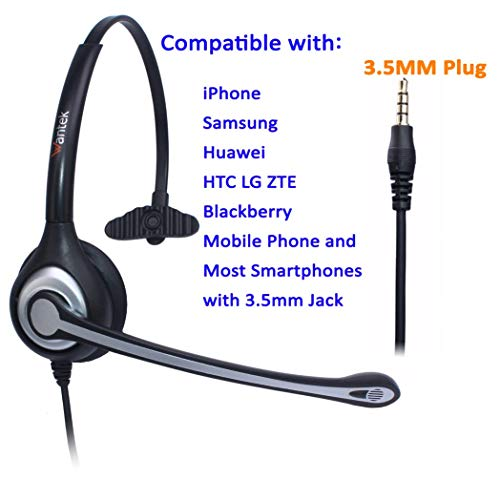 Headset Handy Mono mit Noise Cancelling Mikrofon, WANTEK Smartphone Kopfhörer für iPhone Samsung Huawei HTC LG ZTE Blackberry Android Mobiltelefon mit 3,5mm Klinkenstecker(F600J35)