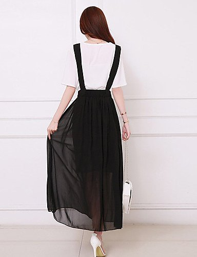 PU&PU Robe Aux femmes Swing Simple,Couleur Pleine Col Arrondi Maxi Polyester BLACK-XL