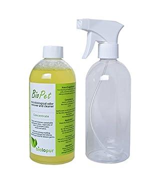 Biopet biol opur Désodorisant-Désodorisant-Spray-Nettoyant Urine, Animal de Compagnie.-500ML concentré = 5l de Solution
