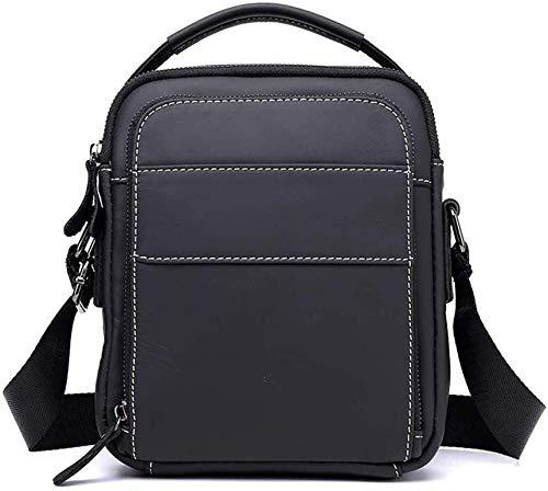 ZZYYHH Herren Vintage Umhängetasche, Top Layer Leder mit großer Kapazität wasserdicht und Abriebfest Tote für Business Leisure, schwarz, braun, schwarz -