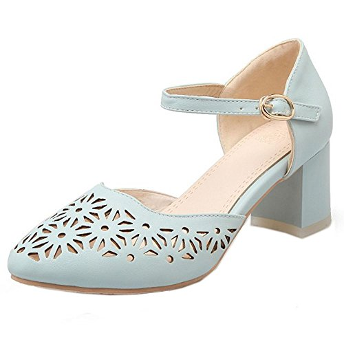 COOLCEPT Femmes Mode Cheville Court Chaussures Bloc Talon moyen Escarpins Bout Ferme Chaussures Bleu