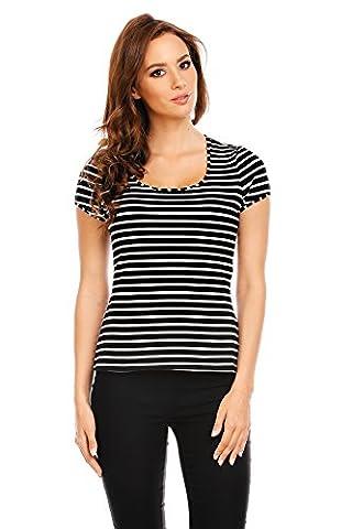 Mia Suri Ladies Round Neck Short Sleeve Casual T-shirt Top