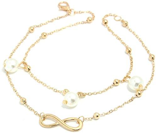 2LIVEfor Elegante Fußkettchen Infinity mit Perlen weiß Fußkette Silber Damen Anhänger Glitzer Fusskettchen rosegold und silber Knöchelkette Damen Fußkette Mädchen Vintage (Gold Perlen)