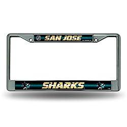 NHL San Jose Sharks Bling License Plate Frame, Chrome, 12 x 6-Inch