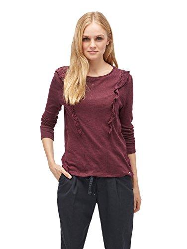 TOM TAILOR Denim für Frauen T-Shirt Langarmshirt mit Rüschen gipsy purple