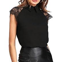 06ab723ebb69 Hevoiok Frauen Kurzarm Oberteile Neu Stil Sommer Blumenspitze Shirt mit  Peter Pan Kragen Damen Casual Bequem