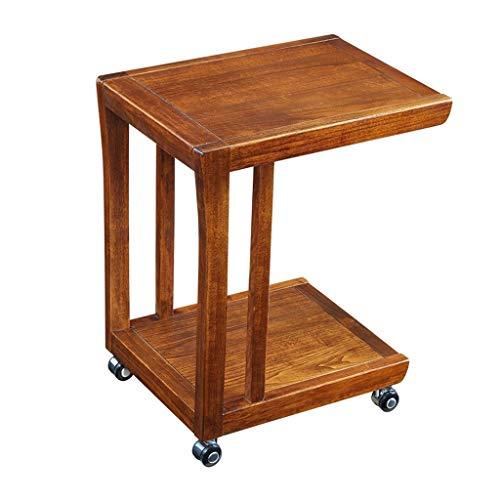 Laptop-Schreibtisch U-förmigen verstellbaren kleinen Couchtisch Laptop Tray Massivholz kleinen Schreibtisch Universalrad Holz Handwerk Material Schreibtisch für Sofa / Schlafzimmer / Overbed (rot) - , U-förmigen Schreibtisch