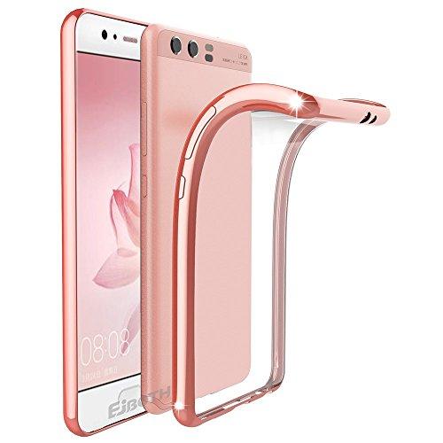 Cover Huawei P10 Plus, EJBOTH TPU Custodia Protettivo Copertura morbido Caso Cristallo Trasparente Cover di protezione Silicio - Anti Scivolare Graffiare Fondello protettore completa [ Oro Rosa ]